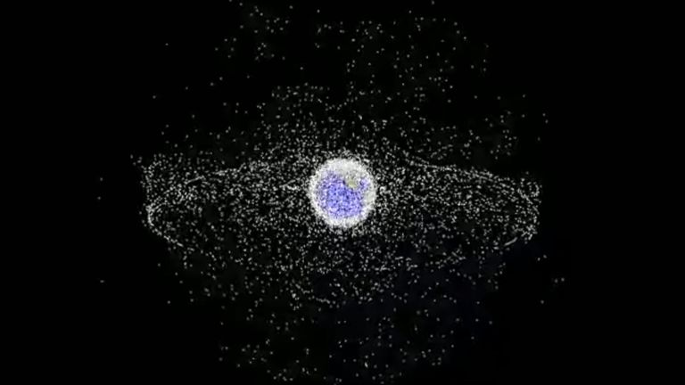 A NASA graphical representation of space junk orbiting the earth