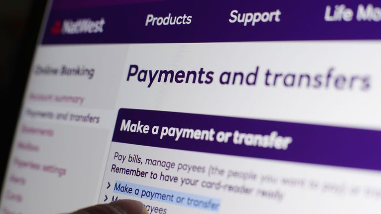 The NatWest online banking website on a laptop, in London, as banking customers with NatWest, RBS, Lloyds and Halifax struggled with online banking glitches on Friday 28/4/17