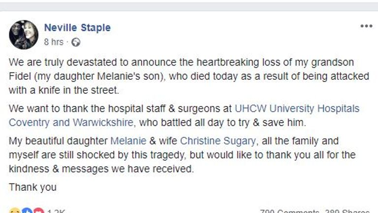 Neville Staple thanked hospital staff for trying to save his grandson's life. Pic: Neville Staple/Facebook