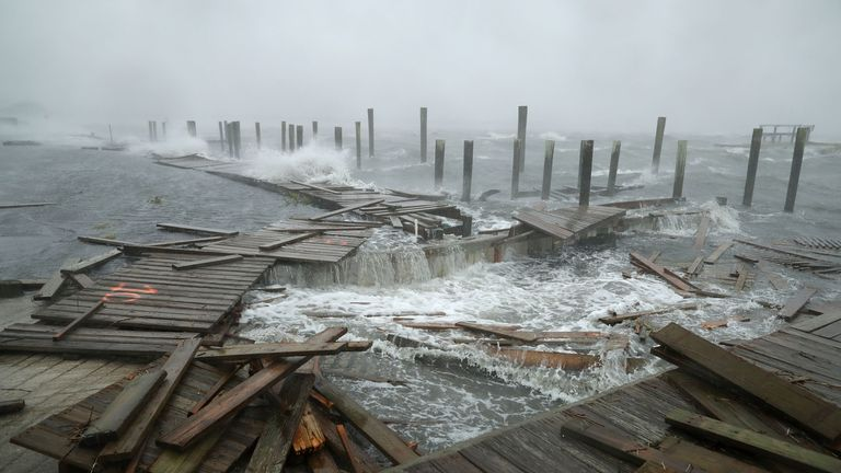 Docks and boardwalks are already being destroyed by Florence's ferocious winds