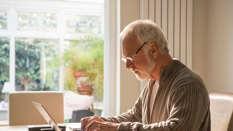 Old man at a computer