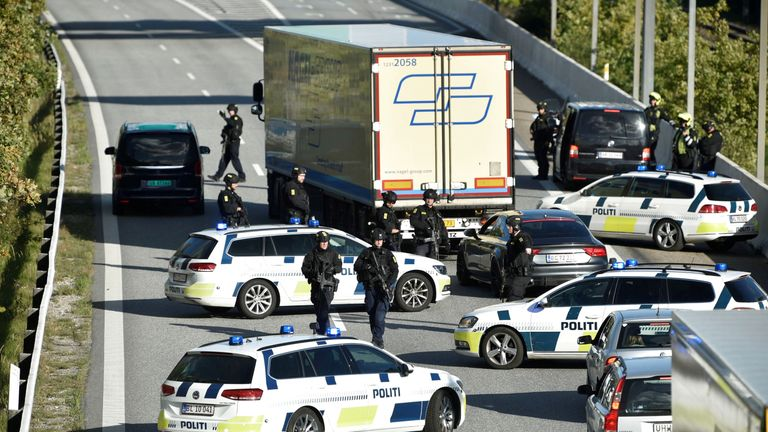 Police closes the Oresund bridge near Copenhagen, Denmark, September 28, 2018
