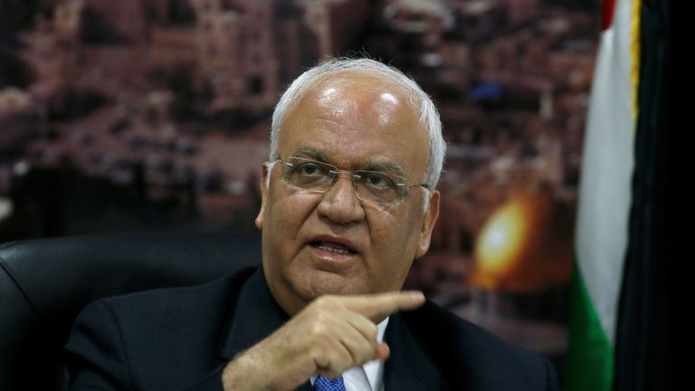 Chief Palestinian negotiator Saeb Erekat said the US is cutting his side out of the plans