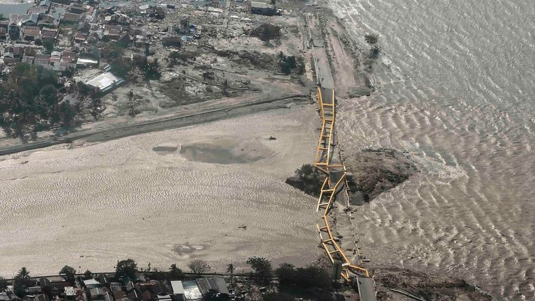 A bridge in Palu was destroyed by the earthquake and tsunami