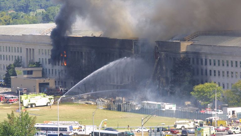 394262 02: Smoke comes out from the west wing of the Pentagon building September 11, 2001 in Arlington, Va., after a plane crashed into the building and set off a huge explosion. (Photo by Alex Wong/Getty Images)