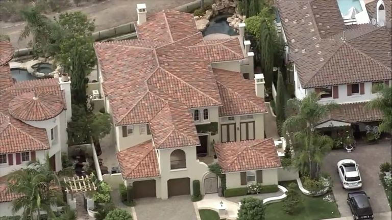The house Chadwick shared with his wife and three children in affluent Newport Beach