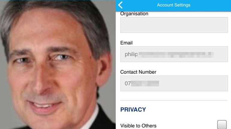 Chancellor Philip Hammond was also affected by the security flaw
