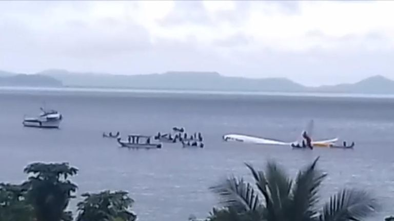 Rescue operation in Micronesia around crashed plane, which recovered everyone safely