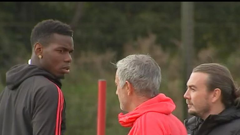 José Mourinho and Paul Pogba filmed in apparent training ground clash.