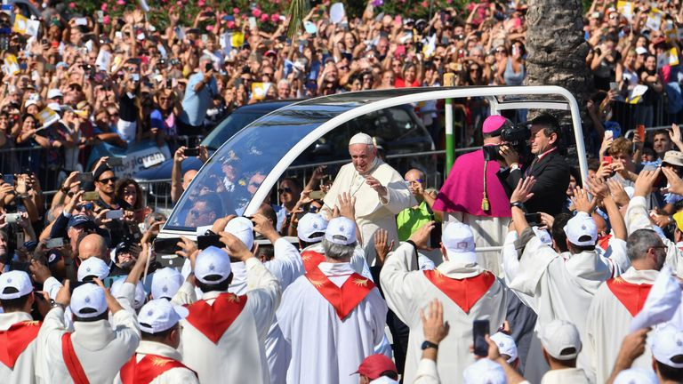 Pope Francis travelled through Palermo in his 'popemobile'