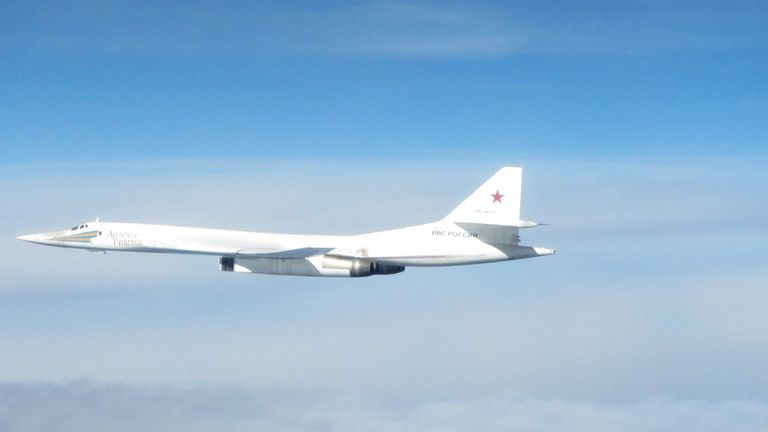 An RAF Typhoon escorted the Russian bomber jet away from the UK. Pic: MoD