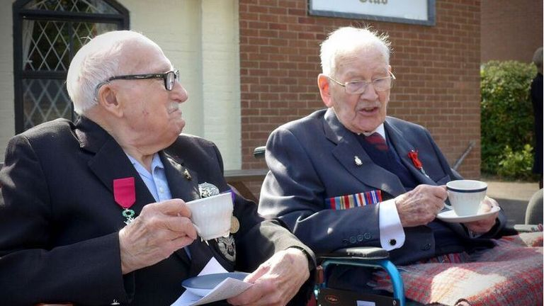 British Normandy veterans 95-year-old Bill Cowley and 100-year-old Ron Trenchard have been presented with France's highest honour, the Légion d'honneur. Pic: Allied Rapid Reaction Corps
