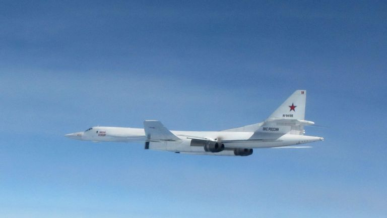 Two Russian Blackjacks long-range bombers were intercepted over the North Sea. Pic: MoD