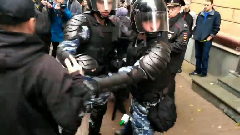 Dozens detained by police during protests in Russia