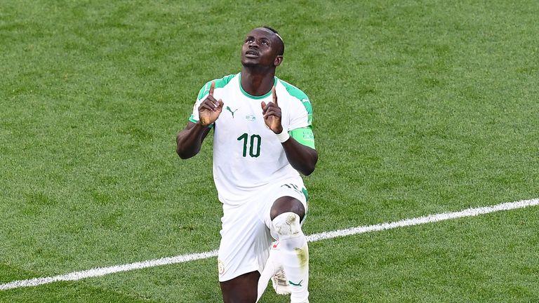 Sadio Mane celebrates by thanking Allah