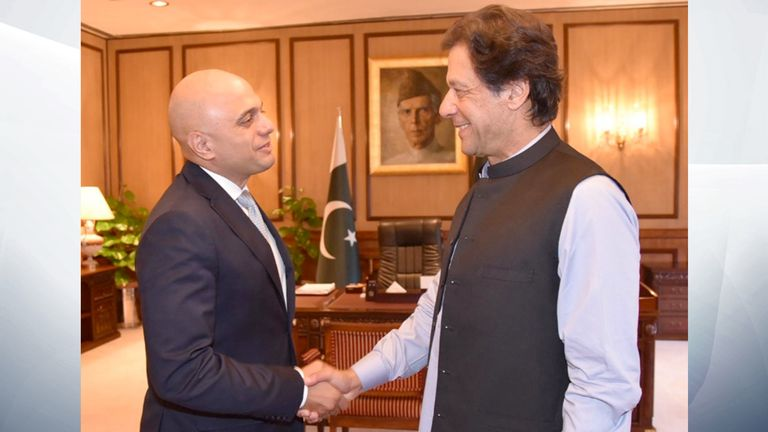 Sajid Javid and Imran Khan