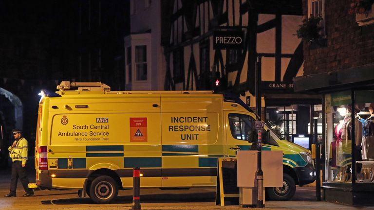 Emergency services outside the Prezzo restaurant in Salisbury
