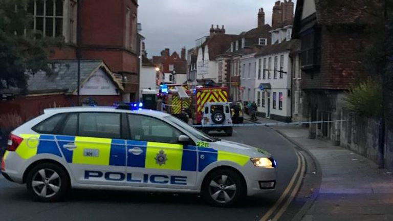 High Street, Salisbury, has been cordoned off by police. Pic: @samproudy01