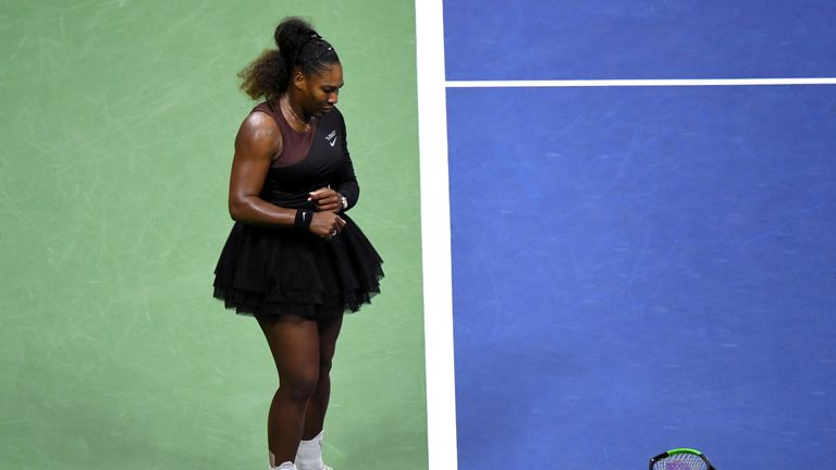 Williams smashed her racket on the court giving her a second violation