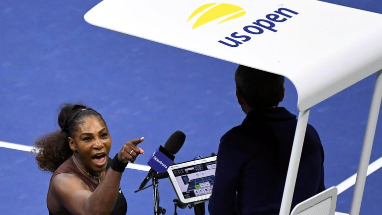 Serena Williams yells at umpire Carlos Ramos in the women's final