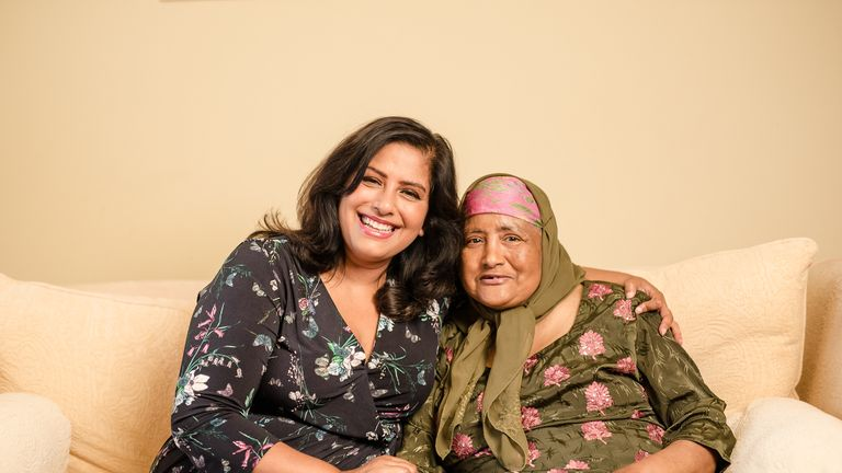 Shaheen with her mother