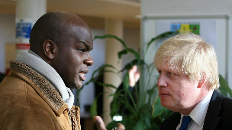 Shaun Bailey speaking to Boris Johnson, when he was Mayor of London in 2009