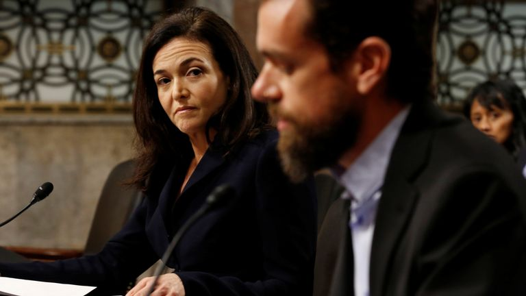 Facebook COO Sheryl Sandberg looks on as she testifies with Twitter CEO Jack Dorsey during a Senate Intelligence Committee hearing on foreign influence operations on social media platforms on Capitol Hill in Washington, U.S., September 5, 2018. REUTERS/Joshua Roberts