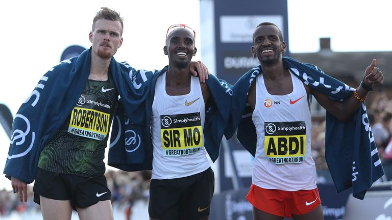 Jake Robertson, Sir Mo Farah and Bashir Abdi, who were second, first and third, respectively