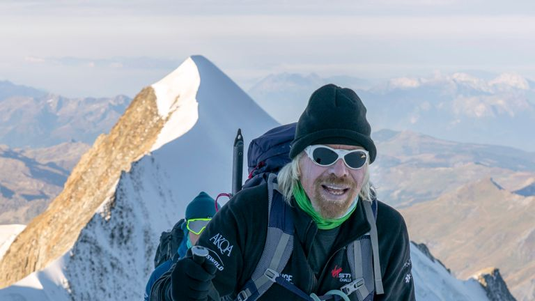 Sir Richard Branson during climb of Mont Blanc