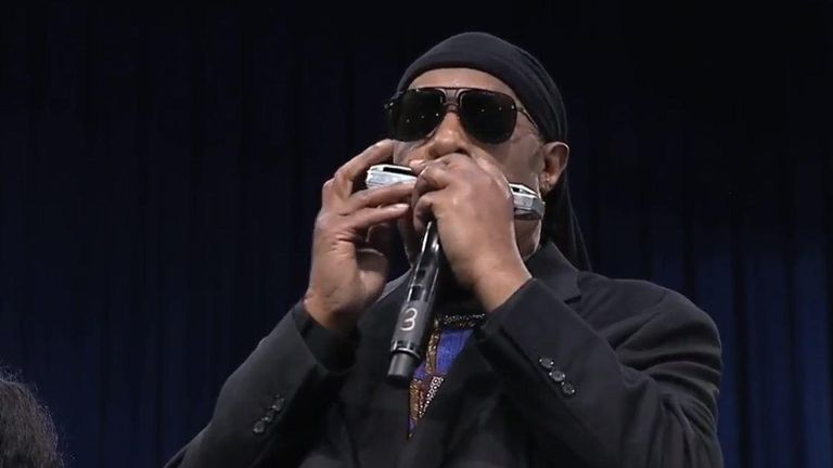 Stevie Wonder closed the tributes to Aretha Franklin