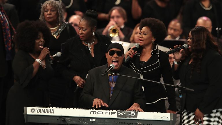 Stevie Wonder performed the closing tribute to Aretha Franklin at her funeral