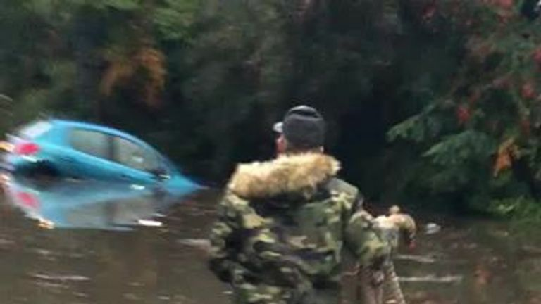 Rich Hamshaw rescued the woman when her car started to float