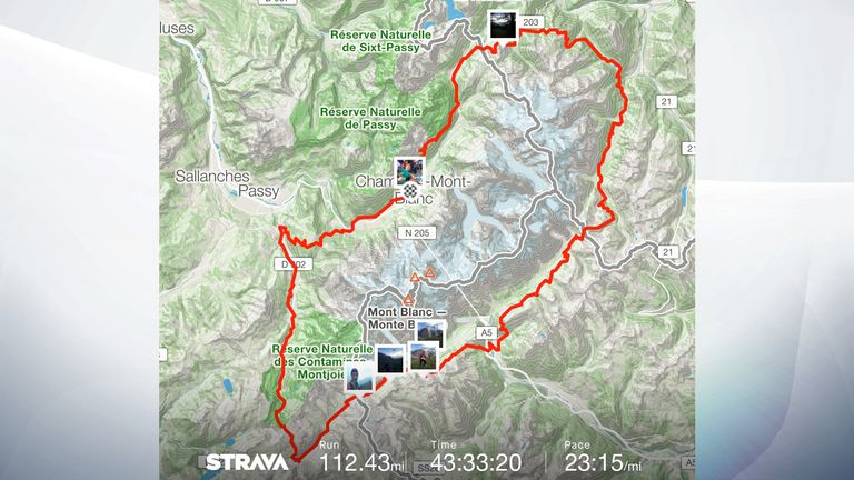Ms Power's Strava shows her run through the Alps for Mont Blanc