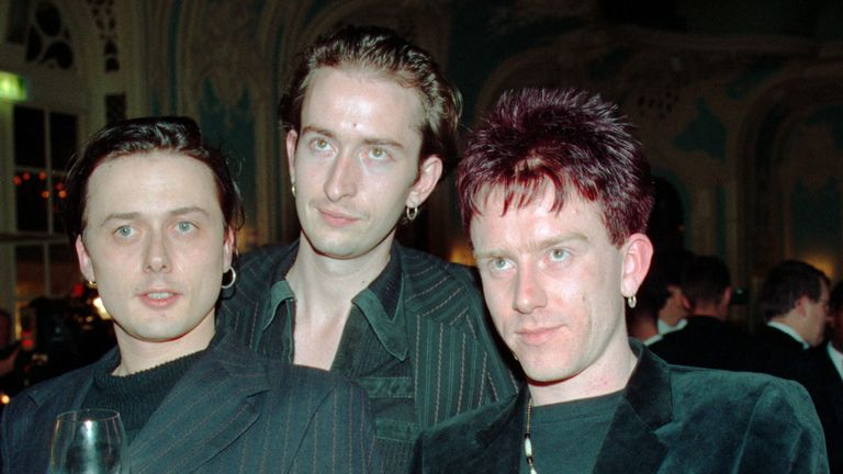 Lead singer Brett Anderson, bassist Mat Osman and drummer Simon Gilbert after being awarded the 1993 Mercury Prize