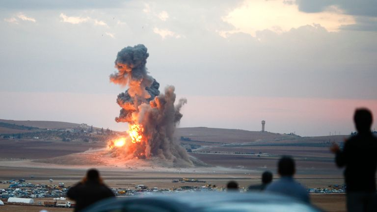 An explosion following a US airstrike to assist Kurdish forces against IS near Kobani, northern Syria