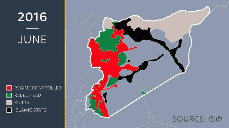 A map showing the approximate lines of control in Syria in June 2016