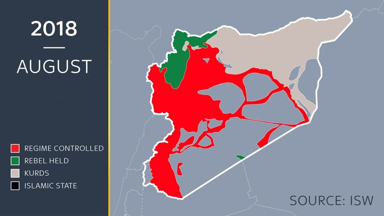 A map showing the approximate lines of control in Syria in August 2018
