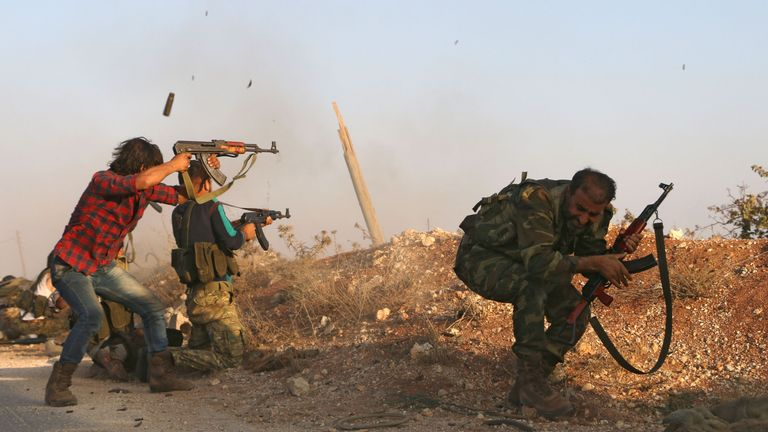 Free Syrian Army rebels fight Islamic State at close quarters in Yarmoul., north of Aleppo
