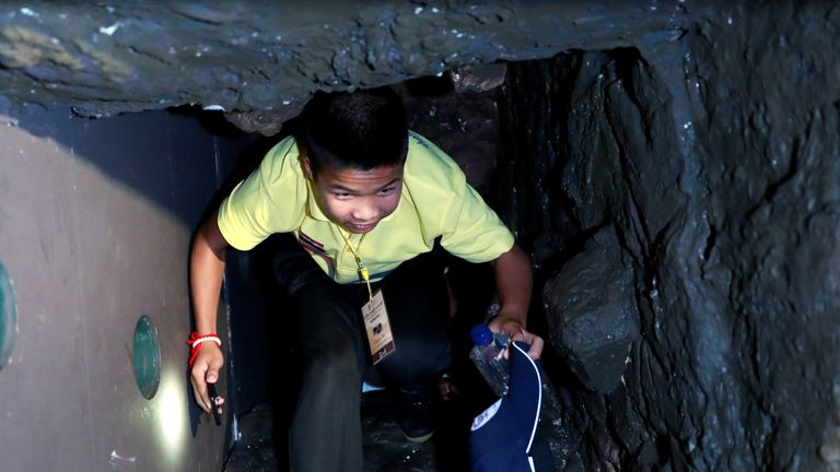 "Thailand cave rescue: The ""Wild Boars"" footballers visit an exhibition featuring their cave rescue earlier this year, in Bangkok, Thailand"