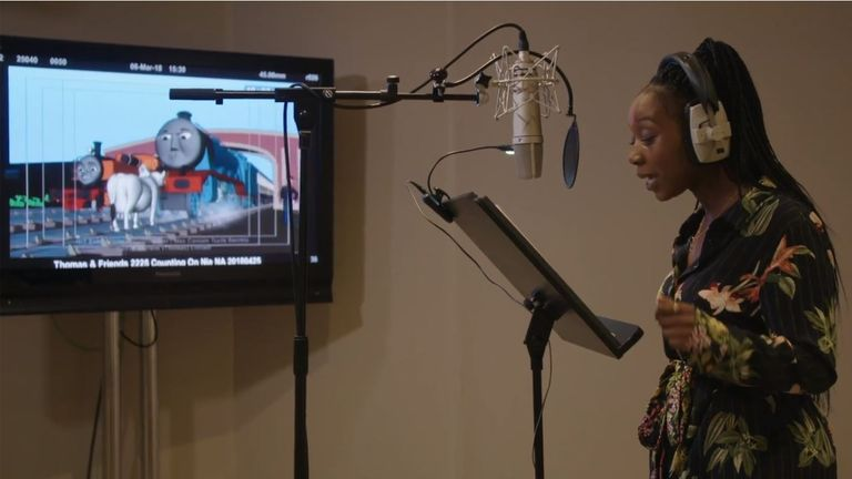 An actress records the voice of Nia from Kenya, Africa