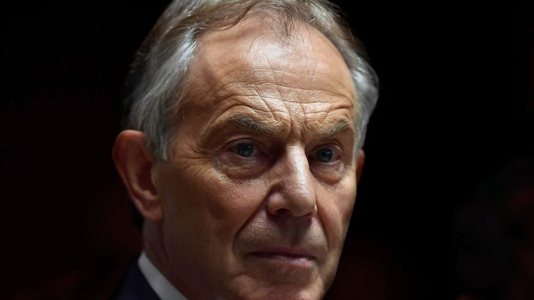 WICKLOW, IRELAND - MAY 12: Former British Prime Minister Tony Blair addresses the media after attending the European People's Party (EPP) Group Bureau meeting at Druids Glen on May 12, 2017 in Wicklow, Ireland.