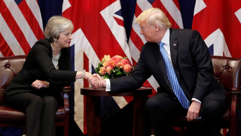 U.S. President Donald Trump greets Britain's Prime Minister Theresa May during a bilateral meeting on the sidelines of the 73rd session of the United Nations General Assembly in New York, U.S., September 26, 2018.
