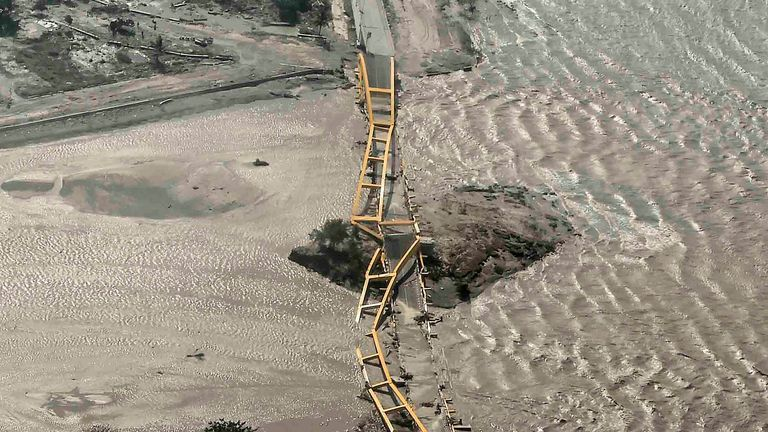 An aerial view shows bridge damaged by an earthquake and tsunami in Palu