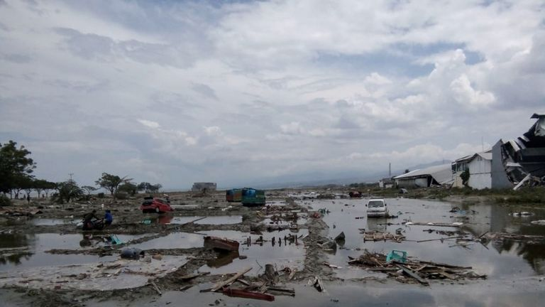 The ruins of cars as seen after tsunami hit in Palu
