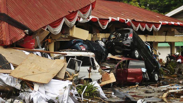 Damage from an earthquake and tsunami can be seen in Palu