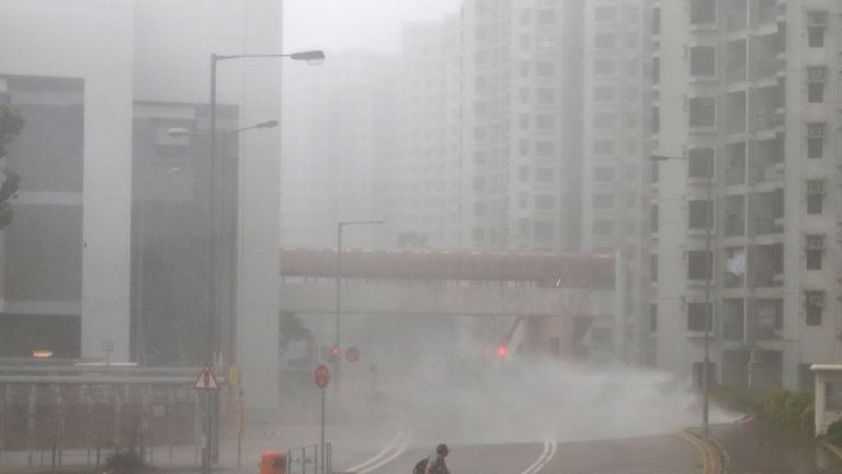The typhoon hit the Heng Fa area of Hong Kong early on Sunday