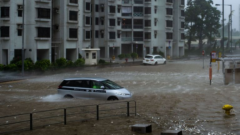 Floods at Heng Fa Chuen, Hong Kong, during the approach of super Typhoon Mangkhut from the Philippines on September 16, 2018