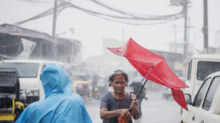 Heavy rains caused by Typhoon Mangkhut in Manila