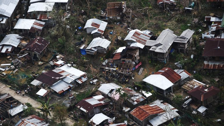 Houses destroyed at the height of Typhoon Mangkhut at a village in Gattaran town, in Cagayan province, Philippines