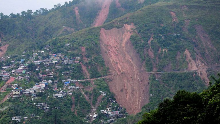 A view of landslide caused at the height of Typhoon Mangkhut